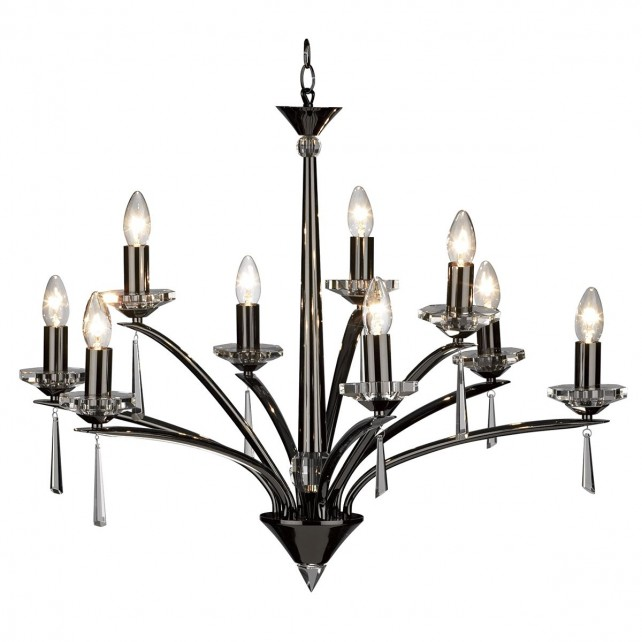 Hyperion Ceiling Light (Dual Mount) - 9 Light Black Chrome
