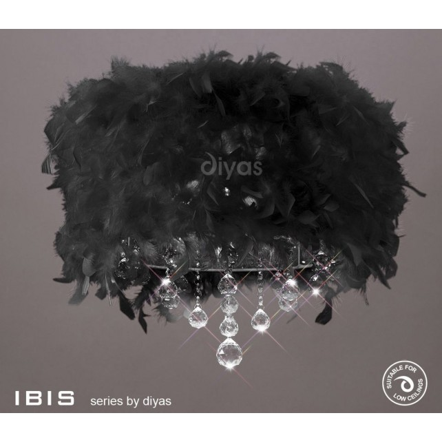 Diyas Ibis Ceiling 3 Light Polished Chrome/Crystal With Black Feather Shade