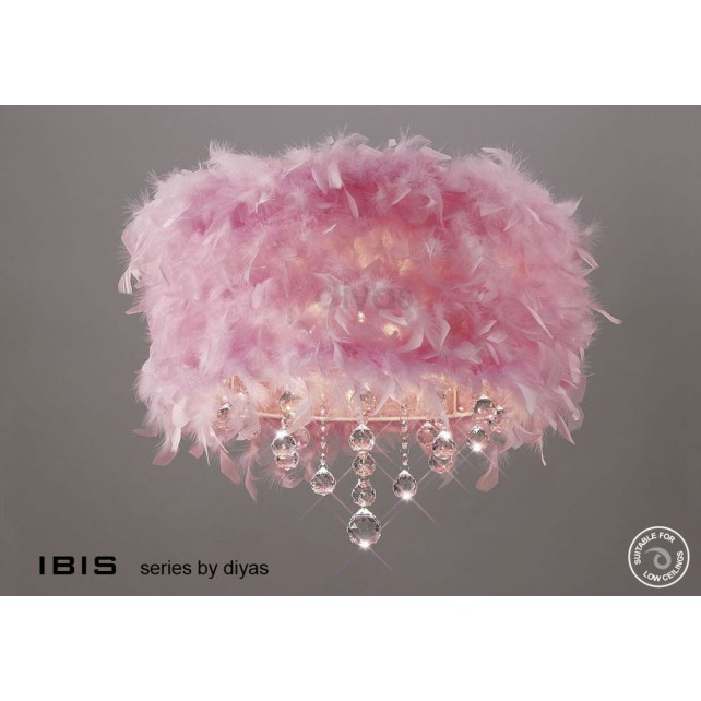 Diyas Ibis Ceiling 3 Light Polished Chrome/Crystal With Pink Feather Shade