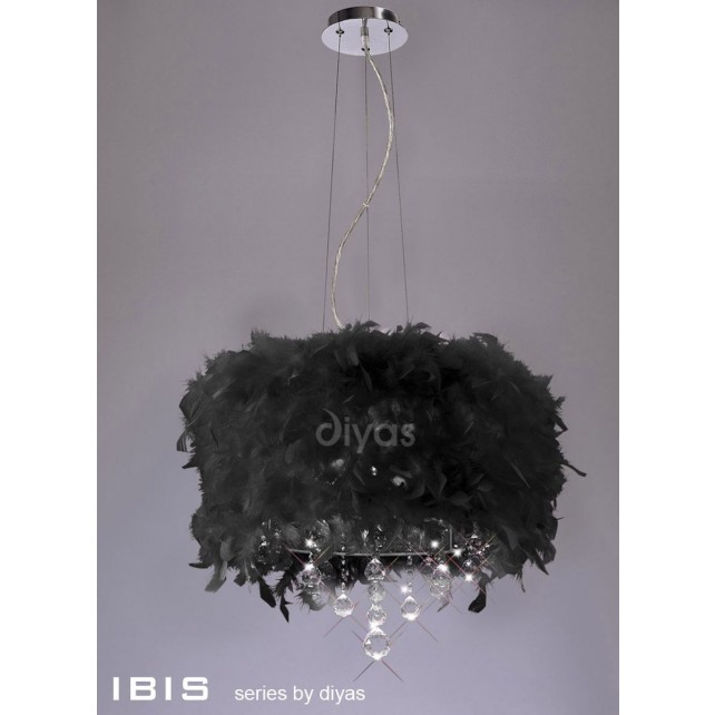 Diyas Ibis Pendant 3 Light Polished Chrome/Crystal With Black Feather Shade