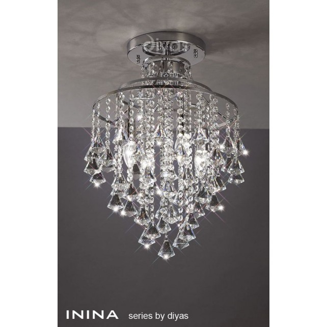 Diyas Inina Ceiling 4 Light Polished Chrome/Crystal
