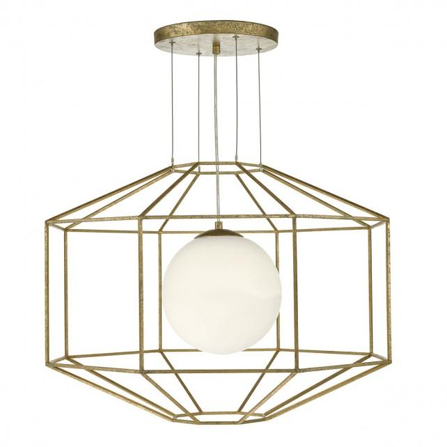 Izmir 1 Light Pendant Hexagonal Gold Effect Opal Glass