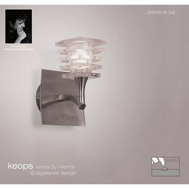 Keops Switched Wall Lamp 1 Light Satin Nickel