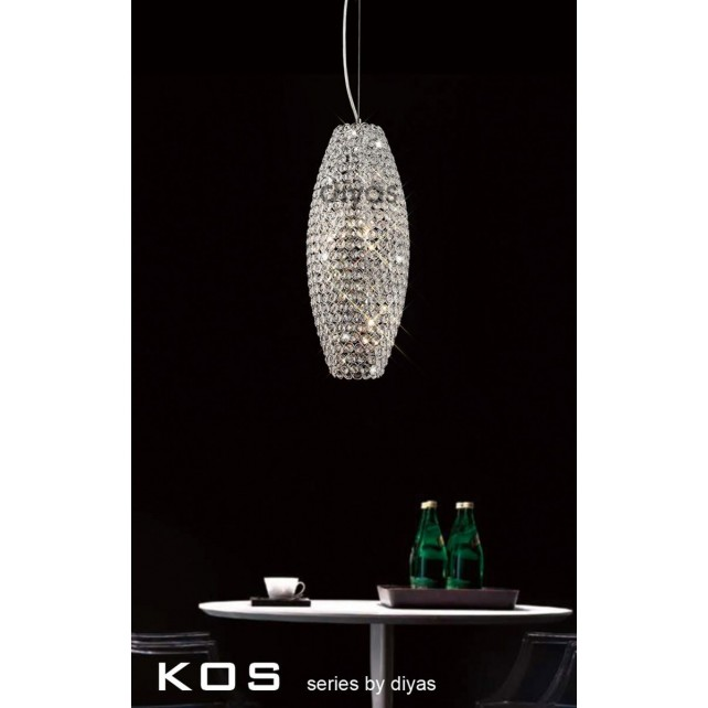 Diyas Kos Pendant 4 Light Polished Chrome/Crystal