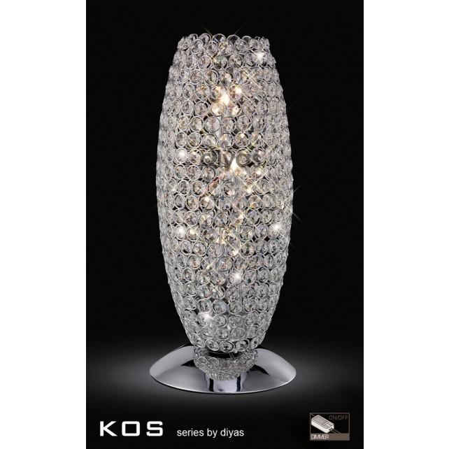 Diyas Kos Table Lamp 3 Light Polished Chrome/Crystal