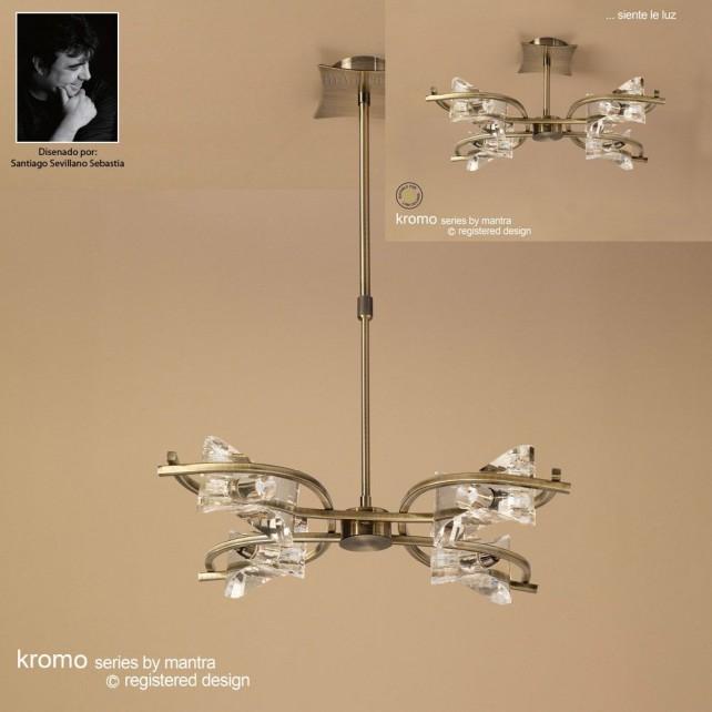 Kromo Pendant 4 Light Antique Brass