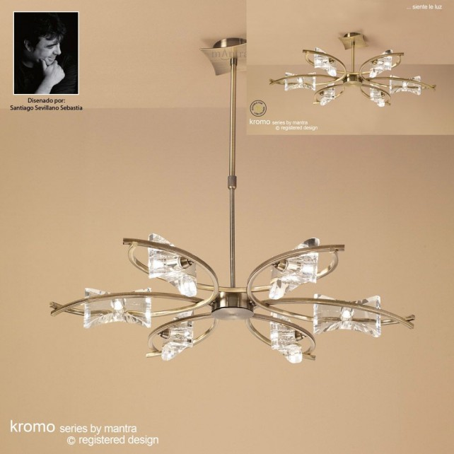 Kromo Pendant 6 Light Antique Brass