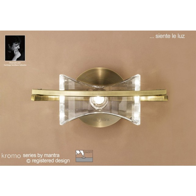 Kromo Wall 1 Light Antique Brass Switched