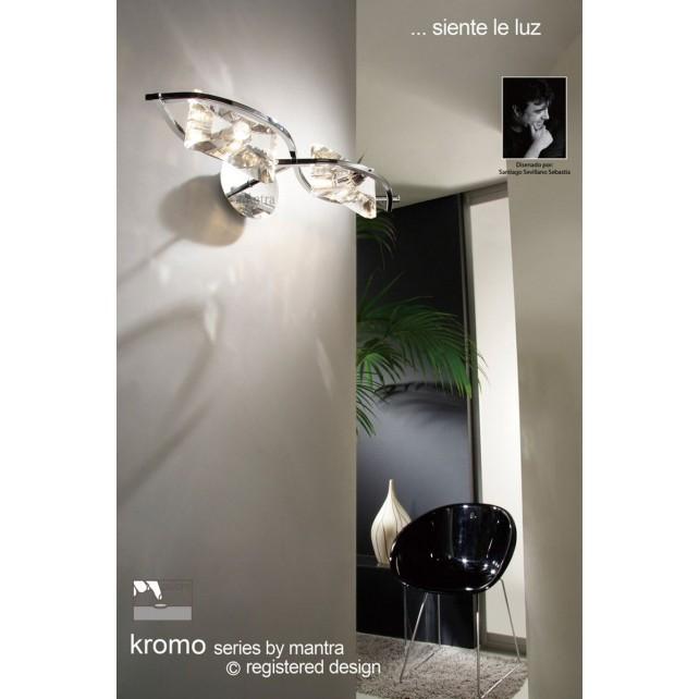 Kromo Wall 2 Light Polished Chrome Switched