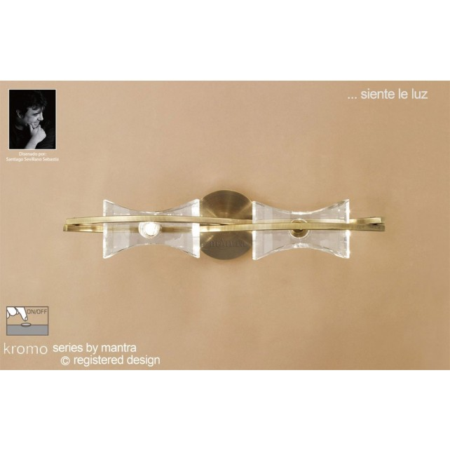 Kromo Wall 2 Light Antique Brass Switched