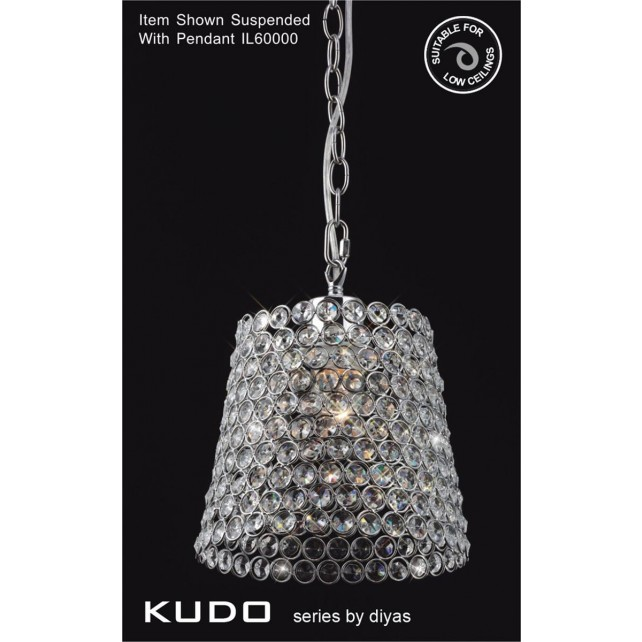 Diyas Kudo Crystal Shade Polished Chrome Non-Electrical Lampshade Shape
