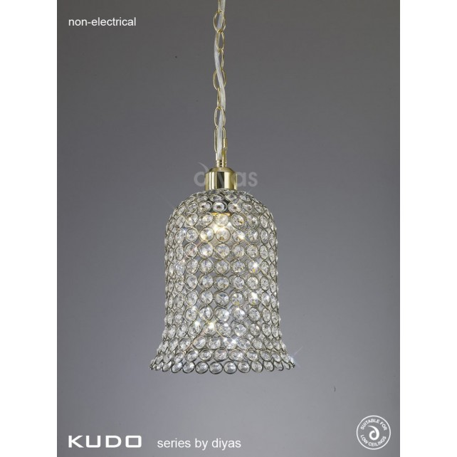 Diyas Kudo Crystal Bell Shade Antique Brass Non-Electric