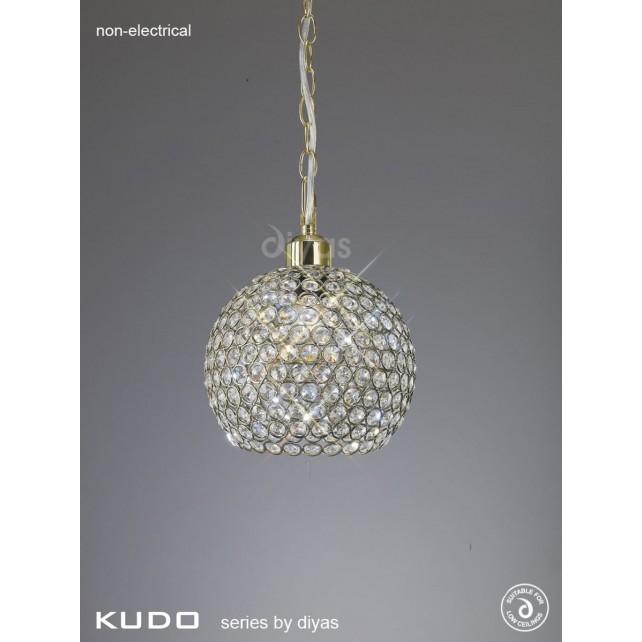 Diyas Kudo Crystal Ball Shade Antique Brass Non-Electric