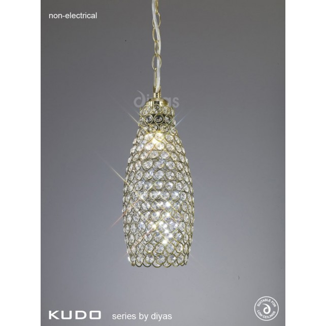 Diyas Kudo Crystal Drum Shade Antique Brass Non-Electric