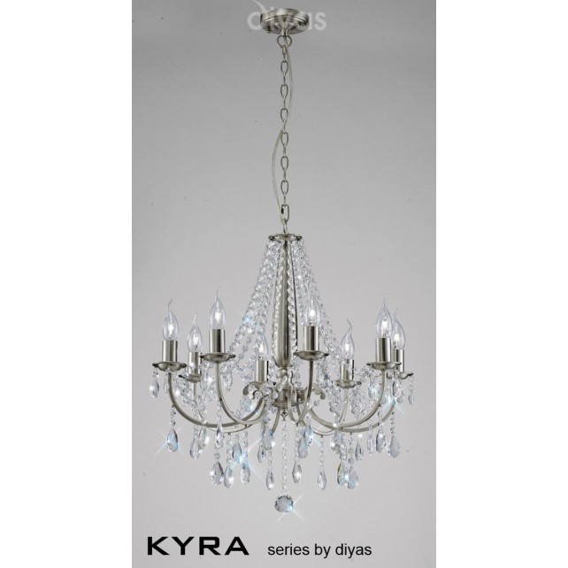 Diyas Kyra Pendant 8 Light Satin Nickel/Crystal