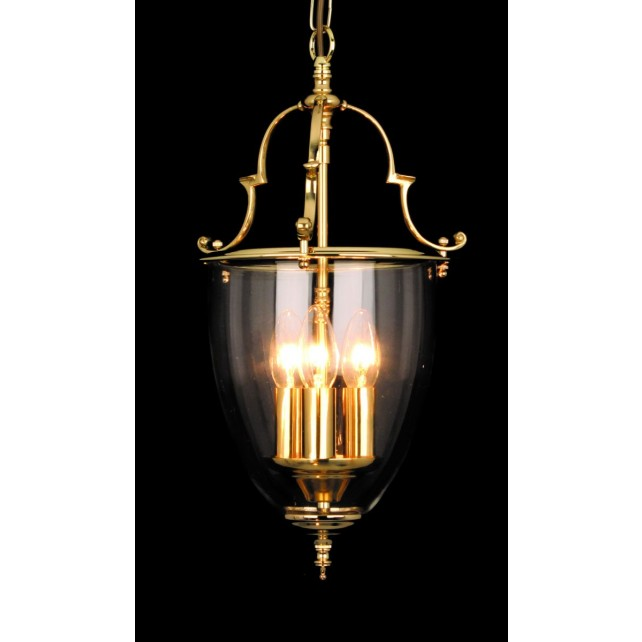 Impex Norfolk Lantern - 3 Light, Polished Brass and Gold