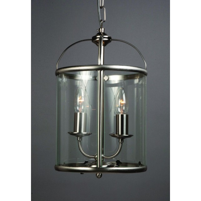 Impex Orly Lantern Satin - 2 Light, Satin Chrome & Nickel