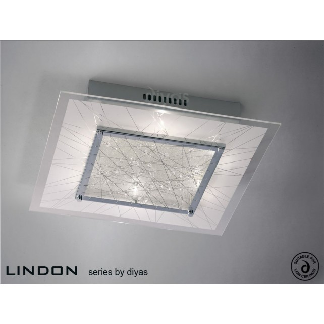 Diyas Lindon Ceiling Square 6 Light Chrome/Crystal