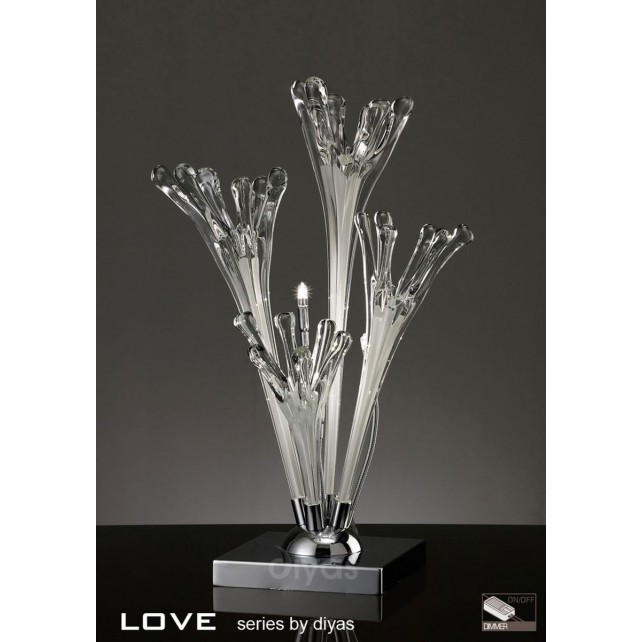 Diyas Love Table Lamp 3 Light Polished Chrome