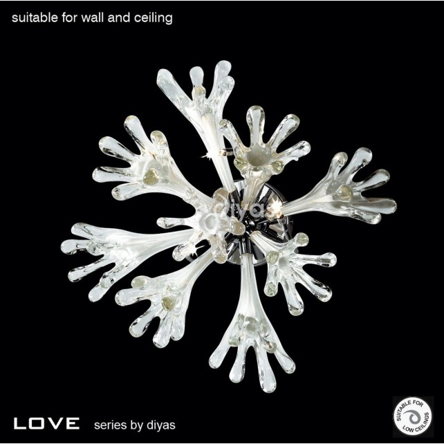 Diyas Love Ceiling/Wall Lamp 6 Light Polished Chrome
