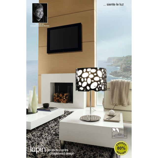 Lupin Table Lamp 1 Light Polished Chrome/Black/White