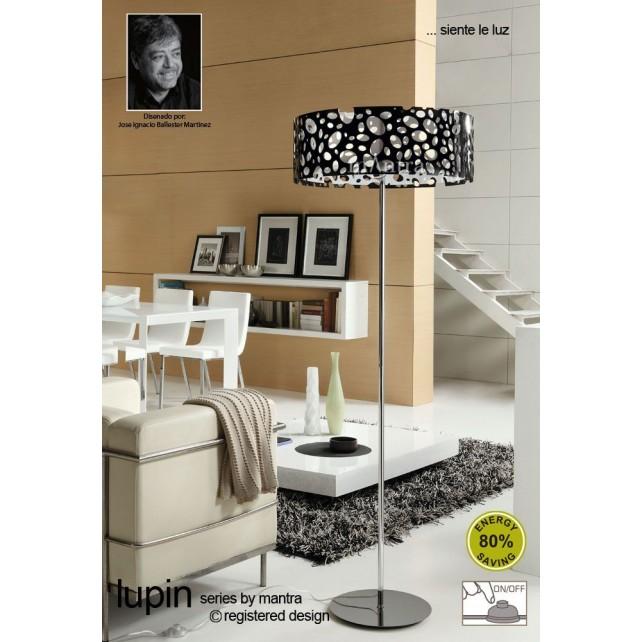 Lupin Floor Lamp 4 Light Polished Chrome/Black/White
