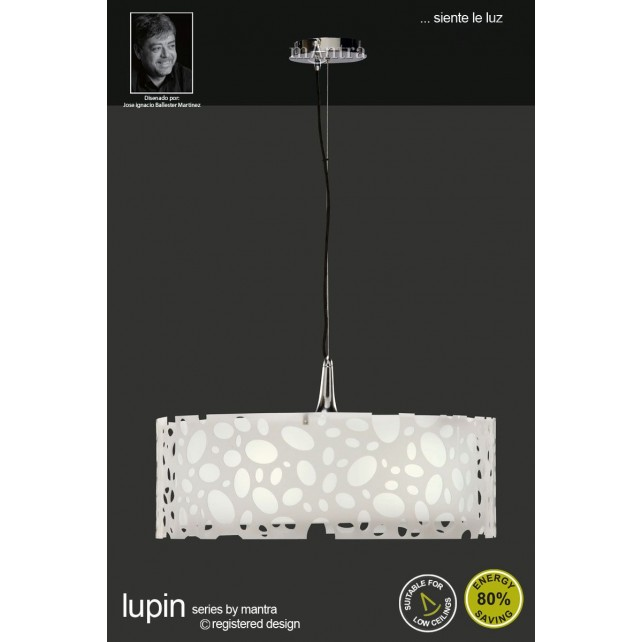 Lupin Pendant 4 Light Polished Chrome/White