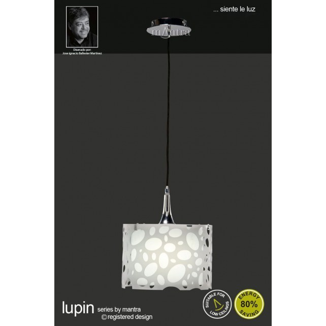 Lupin Pendant 1 Light Polished Chrome/White