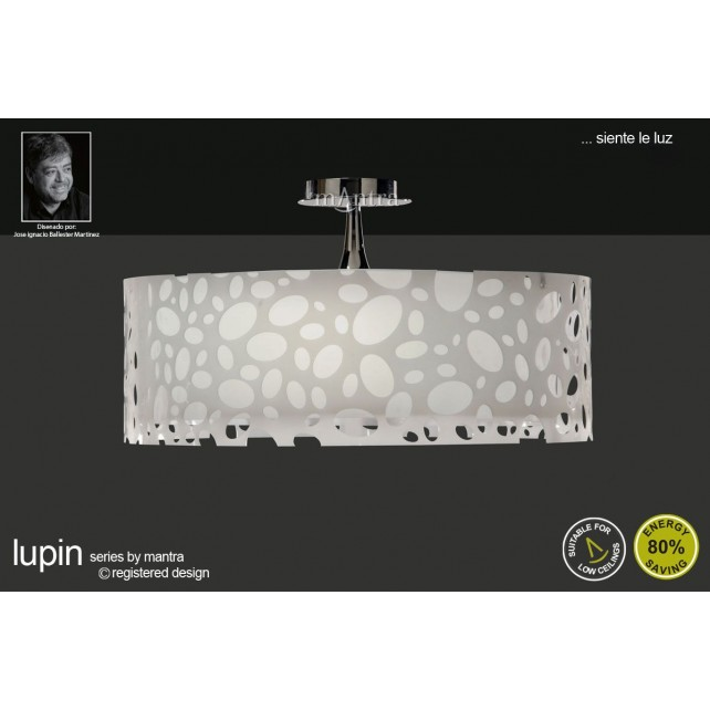 Lupin Semi Ceiling 4 Light Polished Chrome/White