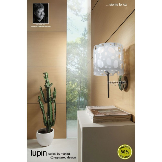 Lupin Wall Lamp 1 Light Polished Chrome/White