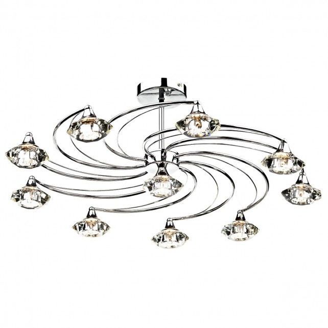 Luther 10 Light Semi Flush Polished Chrome