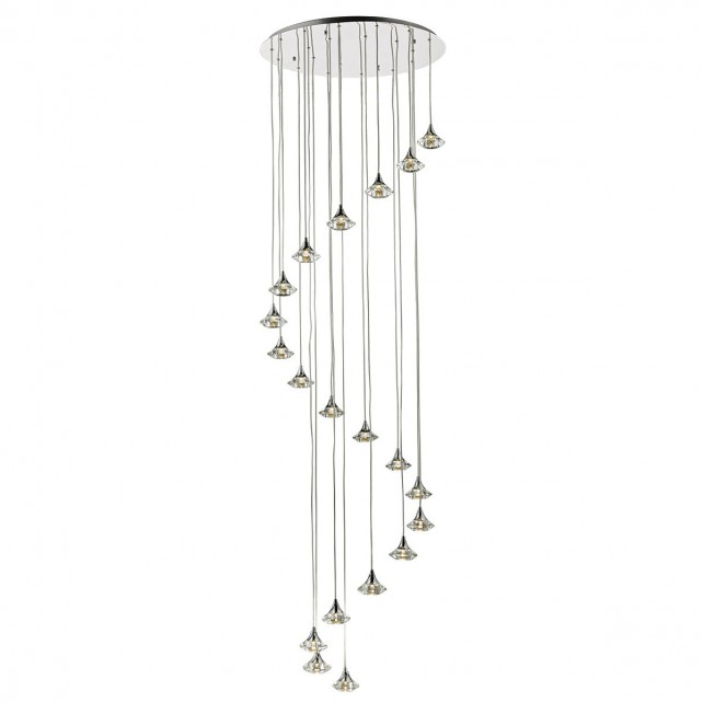 Luther 20 Light Spiral Pendant Polished Chrome And Clear