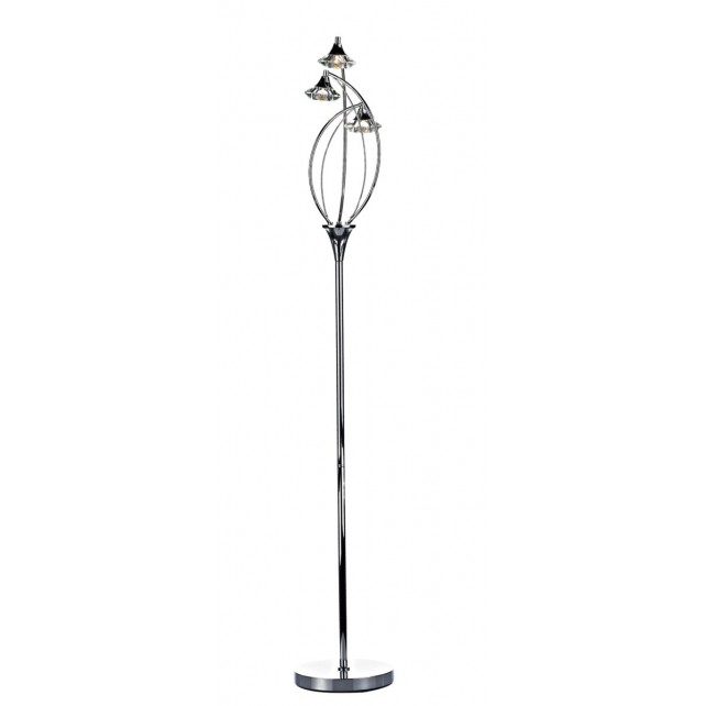 Luther 3 Light Floor Lamp Polished Chrome