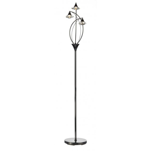 Luther Floor Lamp - 3 Light, Black Chrome, Complete with Crystal Glass