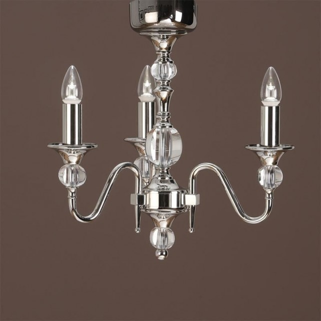 Interiors1900 Polina Nickel 3-Light Chandelier