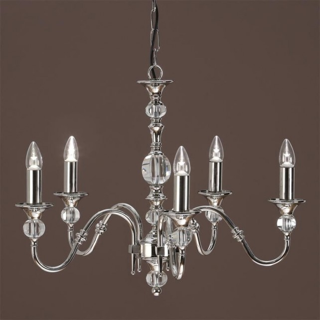Interiors1900 Polina Nickel 5-Light Chadelier