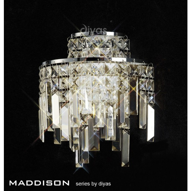 Diyas Maddison Wall Lamp 2 Light Polished Chrome/Crystal