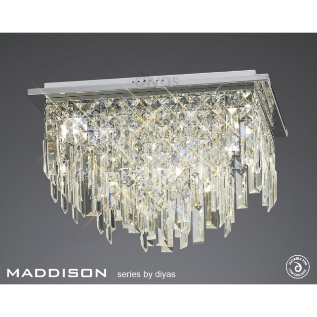 Diyas Maddison Ceiling Square 6 Light Polished Chrome/Crystal