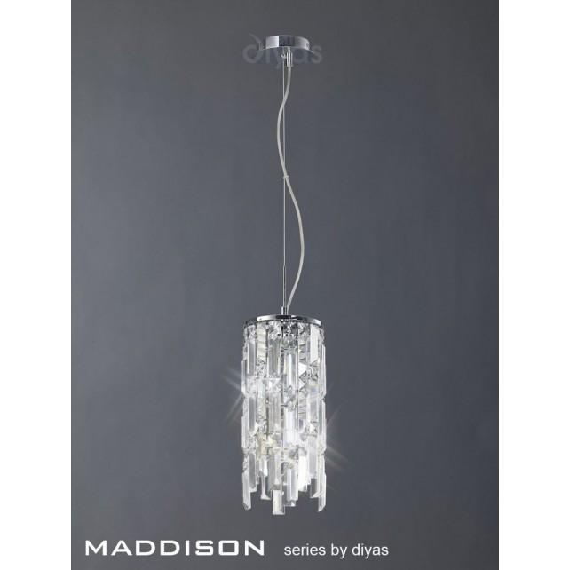 Diyas Maddison Pendant 2 Light Polished Chrome/Crystal