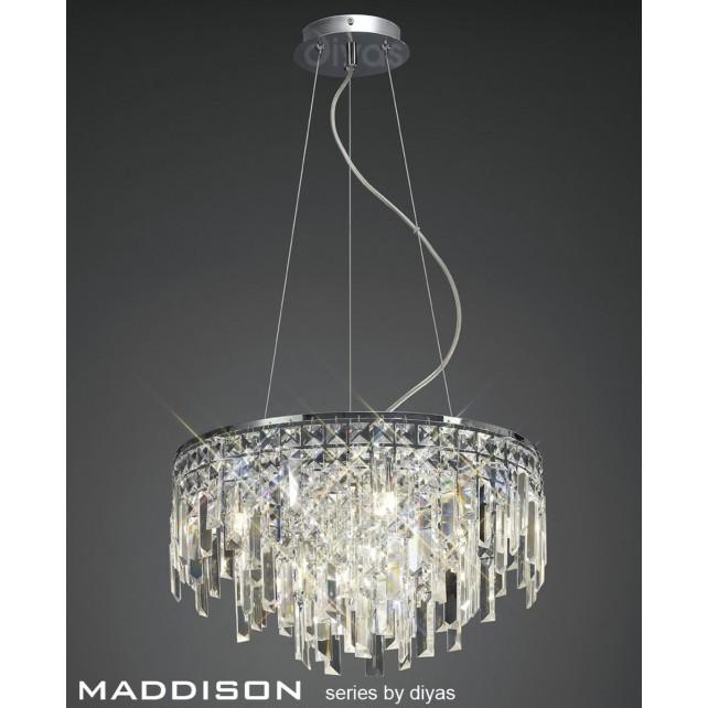 Diyas Maddison Pendant 6 Light Polished Chrome/Crystal
