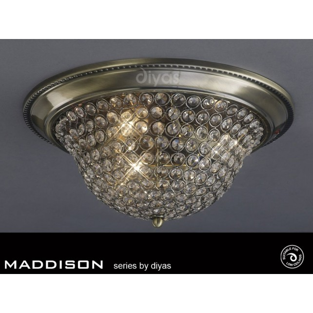 Diyas Paloma Ceiling 2 Light Small Antique Brass/Crystal