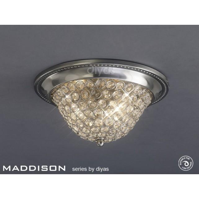 Diyas Paloma Ceiling 3 Light Large Satin Nickel/Crystal