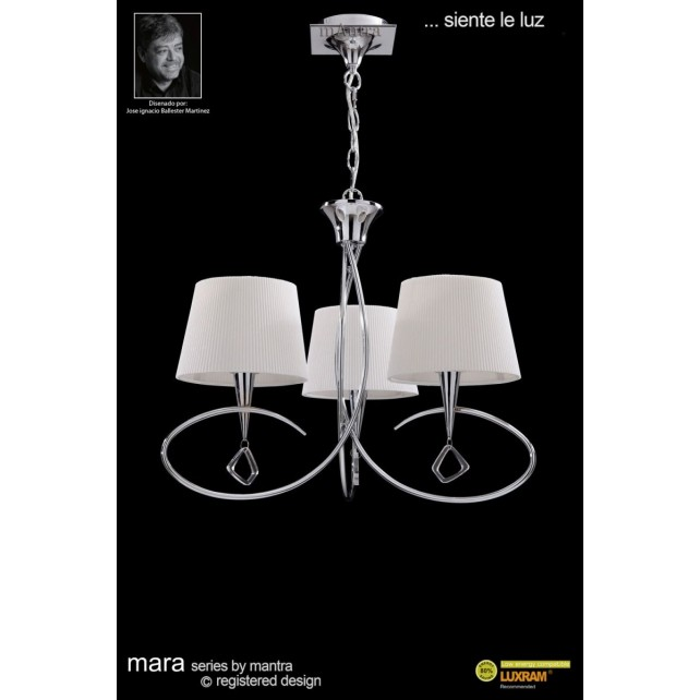 Mara Pendant 3 Light Polished Chrome/Cream