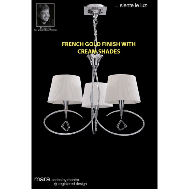 Mara Pendant 3 Light French Gold/Cream