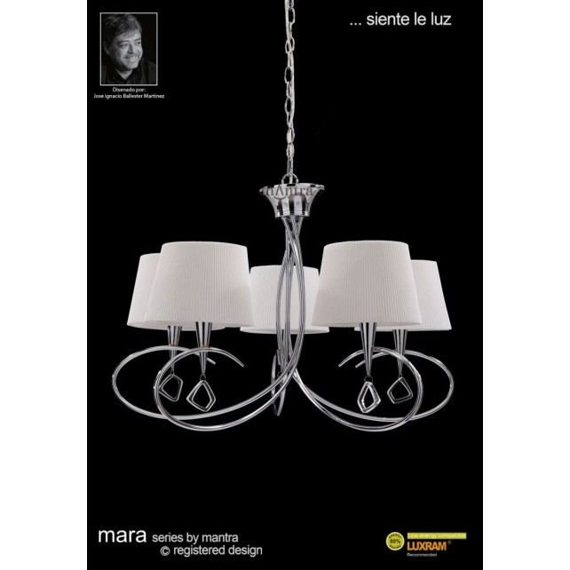 Mara Pendant 5 Light Polished Chrome/Cream
