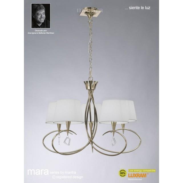 Mara Pendant 5 Light French Gold/Cream