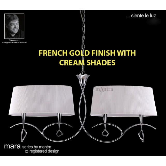 Mara Pendant Bar 4 Light French Gold/Cream