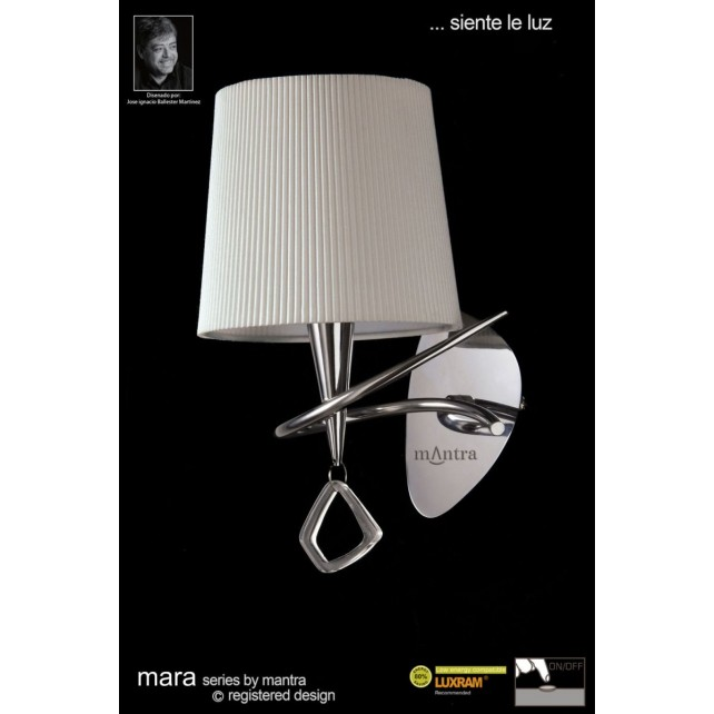 Mara Wall Lamp 1 Light Polished Chrome/Cream Switched