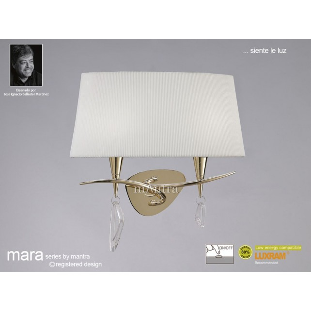 Mara Wall Lamp 2 Light French Gold/Cream Switched