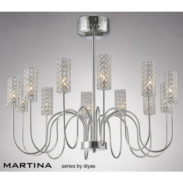 Diyas Martina 12 Light Pendant Chrome/Crystal